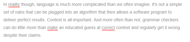 Three Grammarly mistakes in one paragraph